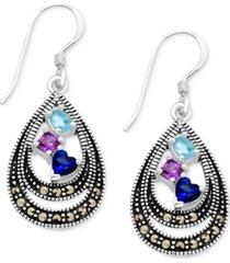 cubic zirconia & marcasite double teardrop drop earrings in fine silver-plate