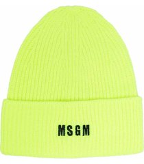 msgm chunky knit hat with logo