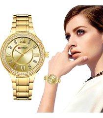 reloj curren dama elegante cristal diamante acero análogo