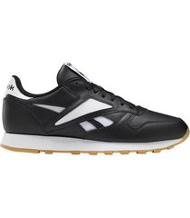 tenis classics reebok classic leather mark - negro-blanco