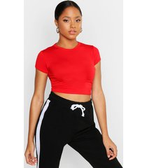 cropped capped sleeve t-shirt, red