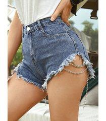 detalles de borlas cadena diseño shorts de mezclilla de talle alto