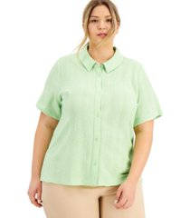 alfani plus size knit button-front top, created for macy's