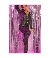 sexy feest uitgaans wikkel look langmouw jumpsuit zwartzilver