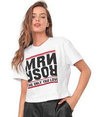 camiseta cropped morena rosa lettering branca - branco - feminino - algodã£o - dafiti