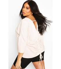 plus ruched back oversized sweat top, blush