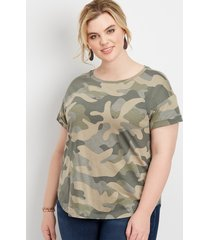maurices plus size womens 24/7 camo drop shoulder tee green