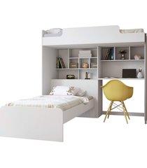 módulo office new c/cama juvenil branco santos andirá