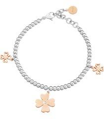 bracciale charms quadrifoglio in acciaio bicolore e cristalli per donna