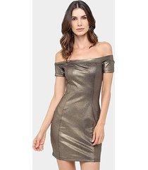 vestido colcci tubinho curto ombro a ombro metalizado