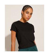 blusa básica com manga curta dobrada preta