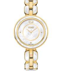fendi my way goldtone stainless steel & mother-of-pearl bracelet watch