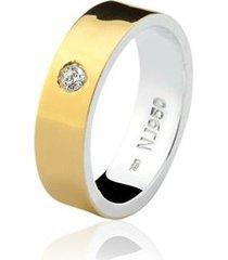 aliança mista ouro 18k e prata 925 elegance natalia joias alm-150