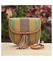 leather accent wool shoulder bag, 'earthen chic' (peru)
