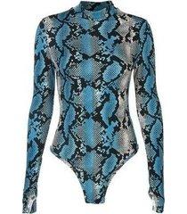 camiseta de manga larga con cuello alto y estampado de serpiente azul