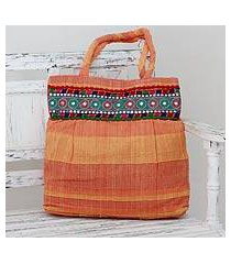 cotton shoulder bag, 'sunset muse' (india)