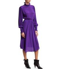 yescott ruffle-neck silk dress