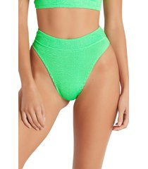 women's bound by bond-eye the savannah high cut ribbed bikini bottoms, size one size - green