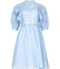 katoenen broderie jurk met ruches kenzie  blauw
