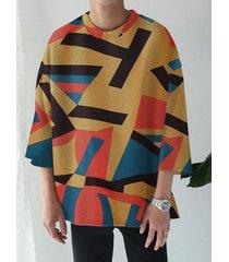 hombre casual color block geometric 3/4 longitud camiseta multicolor de manga