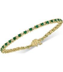 effy emerald (2-1/2 ct. t.w.) & diamond (1-1/2 ct. t.w.) tennis bracelet in 14k gold