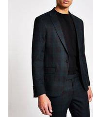 river island mens dark green tartan ultra skinny suit jacket