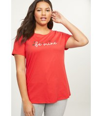 lane bryant women's be mine foil graphic tee 14/16 red