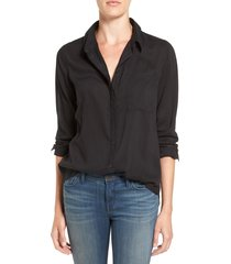 women's treasure & bond drapey classic shirt, size small - black