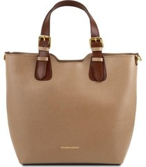 tuscany leather tl141696 tl bag - borsa a mano in pelle saffiano caramello
