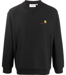 carhartt wip logo-embroidered crew neck sweatshirt - black
