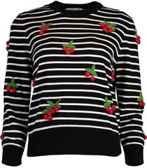 cherry embellished pullover sweater