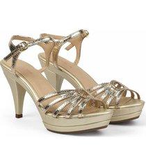 sandalia de tiras cuero dorado versilia sorany