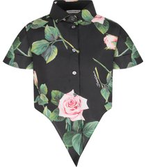 dolce & gabbana black girl skirt with pink roses