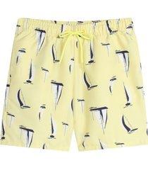 pantaloneta playa veleros color amarillo, talla l