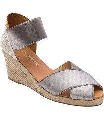 andre assous women's erika wedge sandals - pewter - size 10
