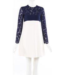valentino lace wool babydoll dress blue/cream sz: s