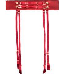 murmur satin-finished belt - red