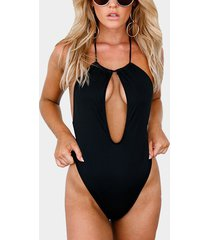 black halter neck open front one-piece sleeveless bodysuits