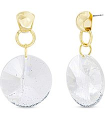 catherine malandrino women's gold-tone glitter circle link drop earrings