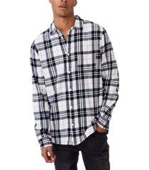 men's washed long sleeve check shirt