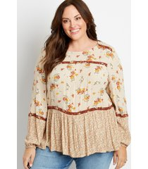 maurices plus size womens tiered floral print long sleeve top beige