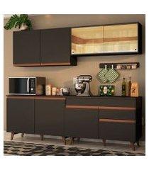 cozinha completa madesa reims 240001 com armário e balcão preto preto