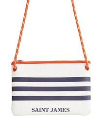 saint james neo white navy blue clutch bag
