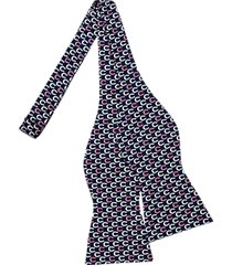 tommy hilfiger navy horseshoe pattern self-tie bow tie