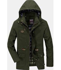 giacca da uomo invernale con cappuccio multi tasche, antivento e rimovibile