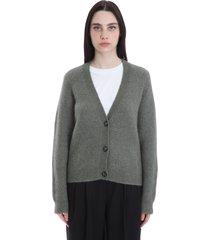 ganni cardigan in green wool