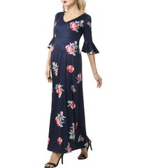women's kimi and kai louisa floral maternity maxi dress, size x-small - blue