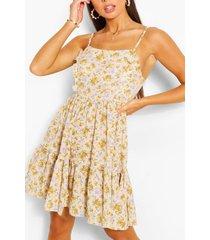 bloemen swing jurk met bandjes en laagjes, mosterd