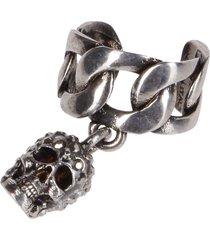alexander mcqueen silver-tone steel ear cuff