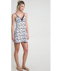 camisola feminina estampada de gatinhos com renda alças finas off white